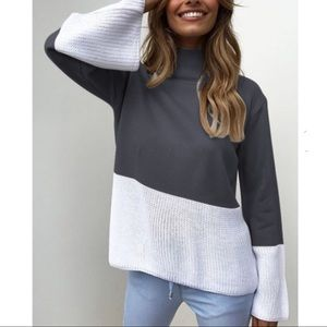 Sweaters - 🎈Gray & White long sleeve turtleneck sweater top